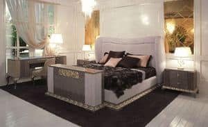 Art. 116, Bed with headboard and bedframe covered in suede leather