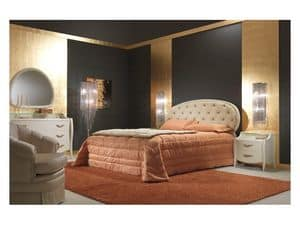 Art. 2010-T Bed, Bed covered in leather, tufted, for luxury rooms