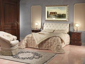 Art. 2026/952/2/C bed, Luxury bed, in wood and leather, for 5 stars hotel