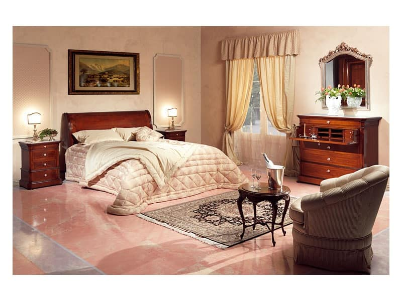 Art. 2026/952/2/L bed, Hand decorated bed, in wood, for classic style bedrooms
