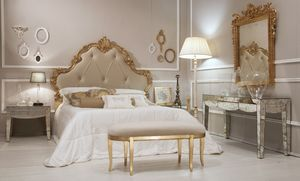 Art. 21644, Luxurious bed in antique gold finish