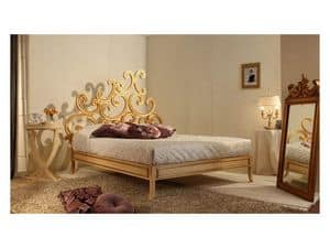 Art. 3300 Ricciolo, Bed luxury classic, in beech, gold leaf finishing