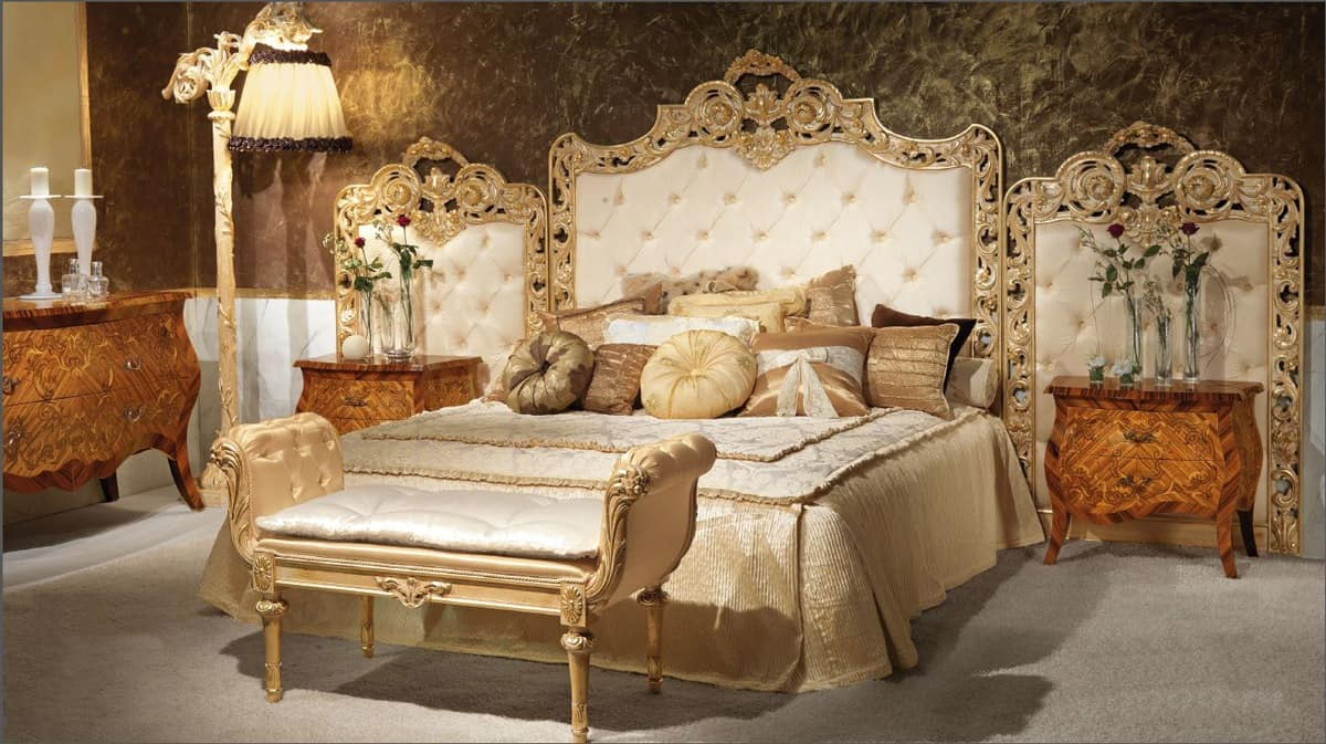 Luxurious bed upholstered headboard tufted hand carved idfdesign