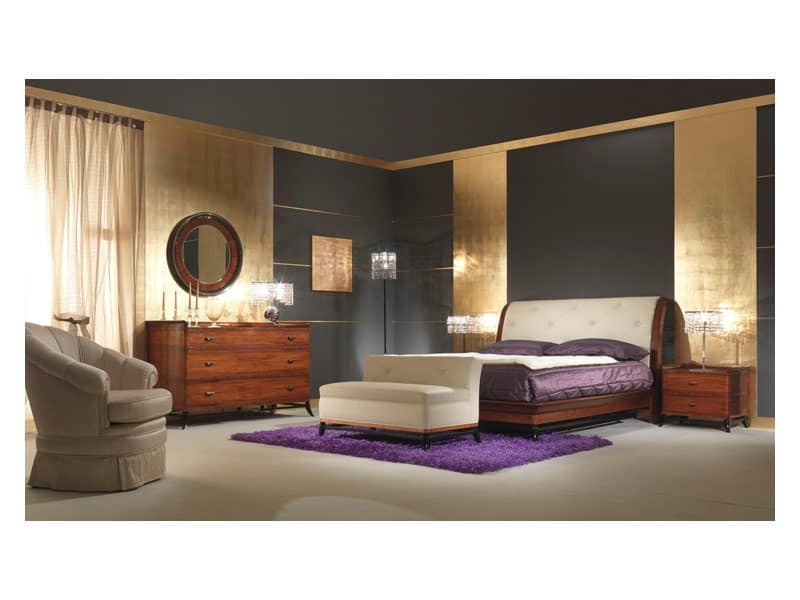 Art 509 Bed, Solid rosewood bed, leather headboard, classical style
