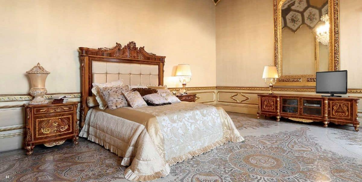 Art. 645, Inlaid bed with upholstered headboard