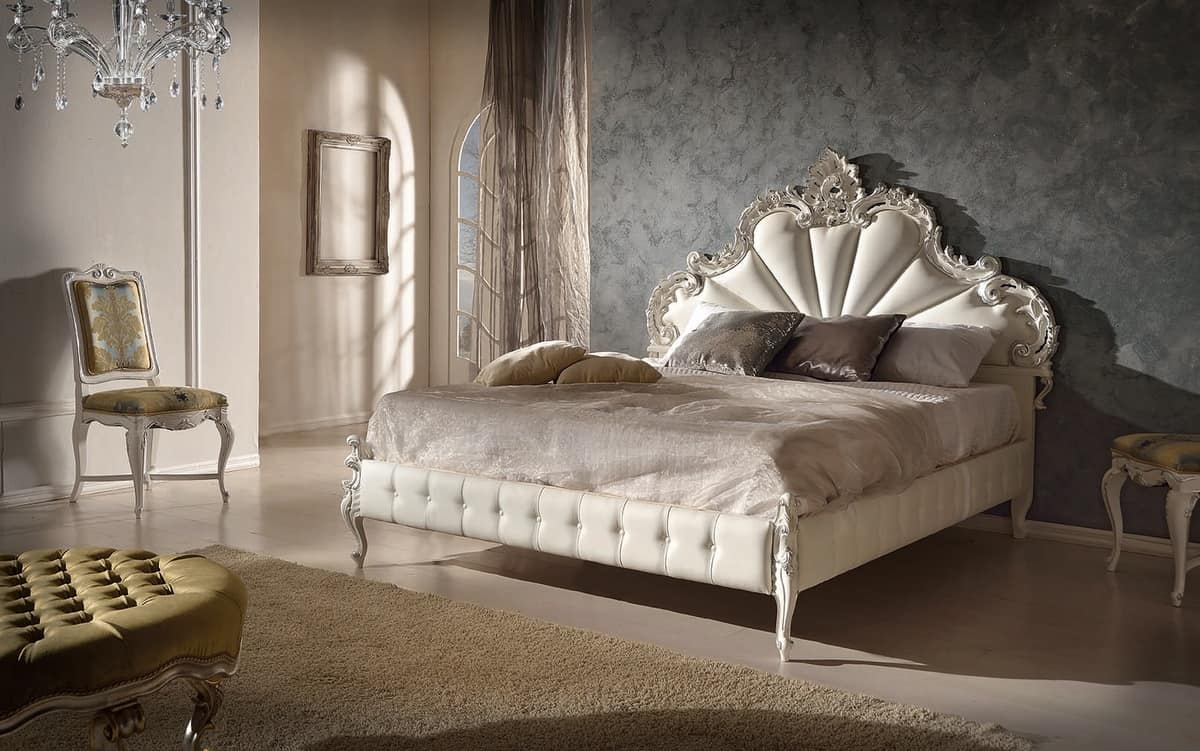 Art. 802, Wooden carved bed with bed frame upholstered