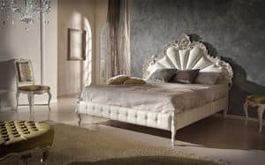 Art. 802, Wooden carved bed with bed frame upholstered