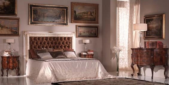 Art.954, 800-style bed, quilted headboard upholstered in silk