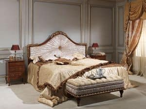 Art. 986-940 bed, Bed in solid wood, upholstered in velvet, for luxury hotel