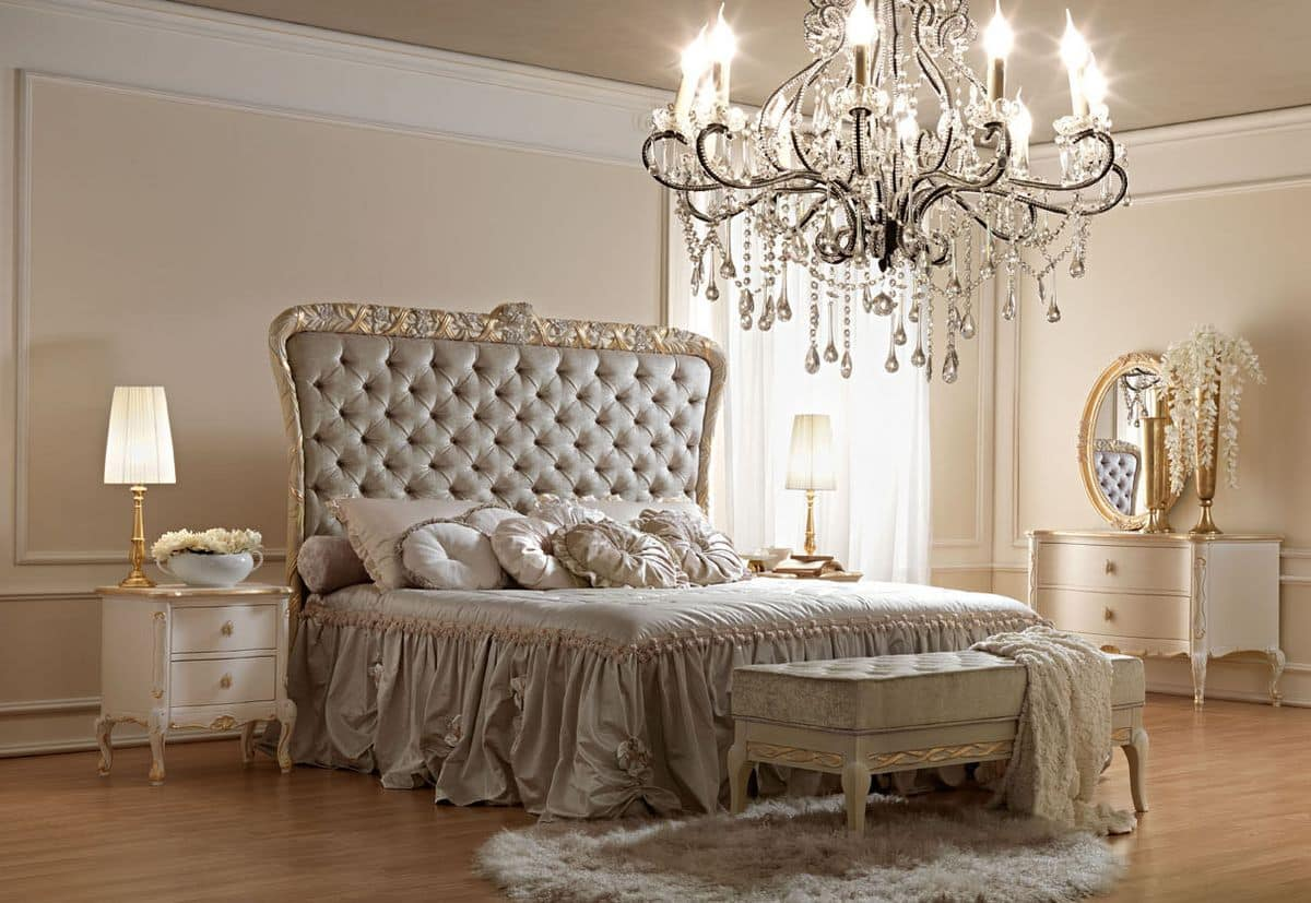 Classical Style Bed With Handcrafted Carvings Padded