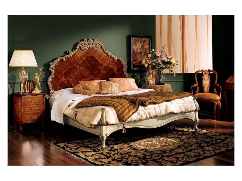 Barocco bed 796, Double bed with headboard made of inlaid wood, classic style