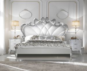 Beatrice Art. 7802 - 7803, Carved bed, silver leaf finish