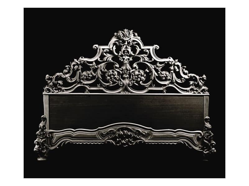 Bed art. 600, Classic style bed with headboard in hand-carved wood