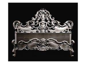 Bed art. 74, Bed with moulding with decorative shell, baroque style