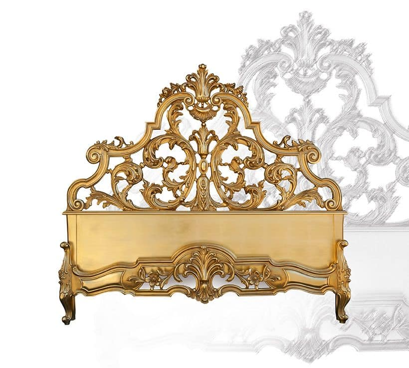 Bed art. 75/a, Bed made of hand-carved wood, baroque style