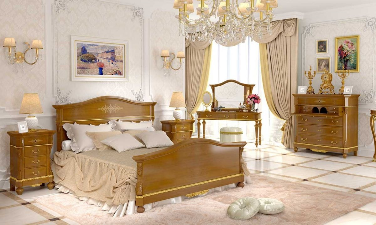 Carlotta bed, Classic style bed in walnut wood