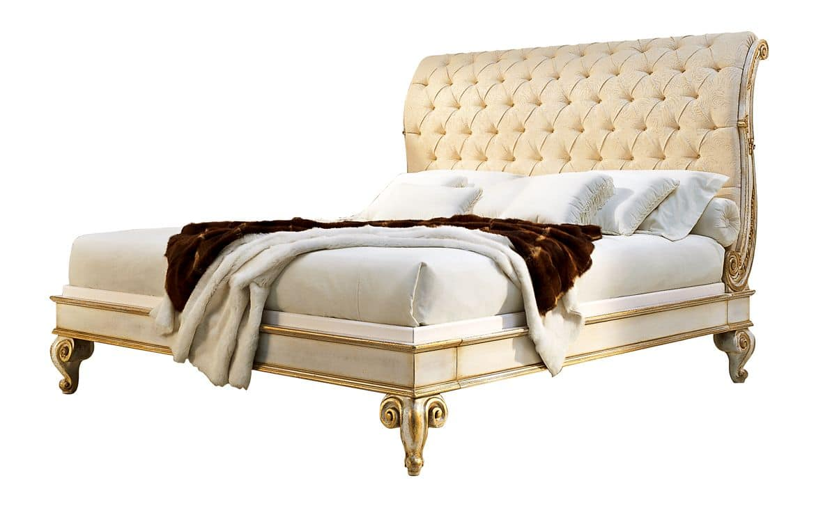 Cascella RA.0822, Walnut bed, headboard in quilted silk, for classic stile
