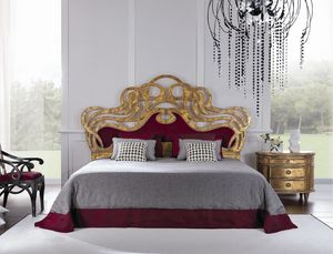 Cassandra bed, Double bed with decorated headboard