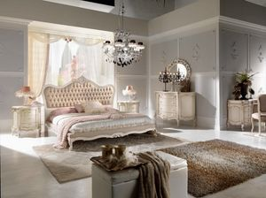 Chippendale bed lacquered, Elegant carved bed