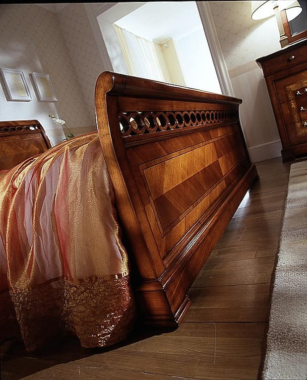 D 706, Bed in cherry, with inlays, veneered with elm