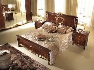 Donatello bed, Bed with neoclassical style, sinuous footboard and headboard, hand-decorated