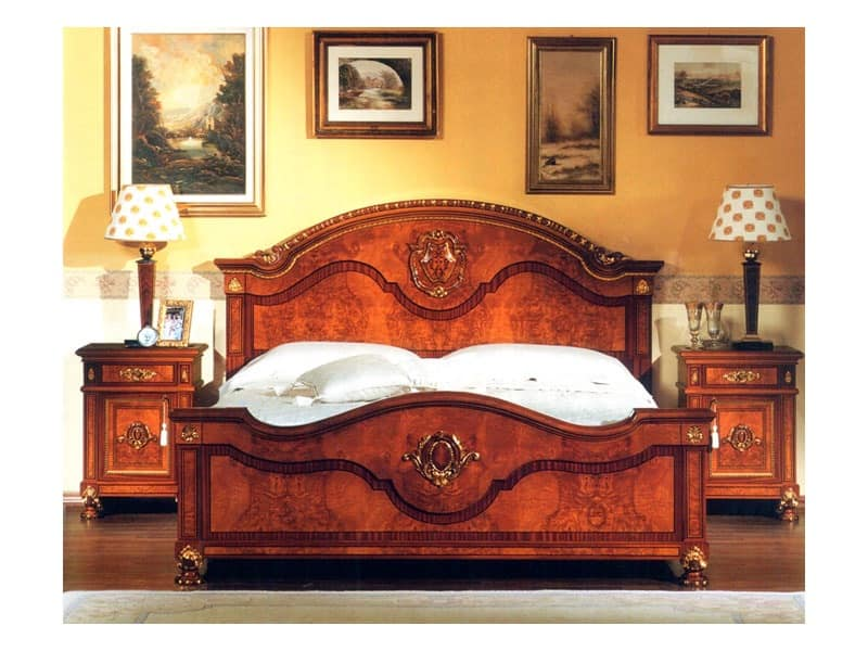 DUCALE DUCLE / Double bed, Double bed with headboard and footboard made of ash