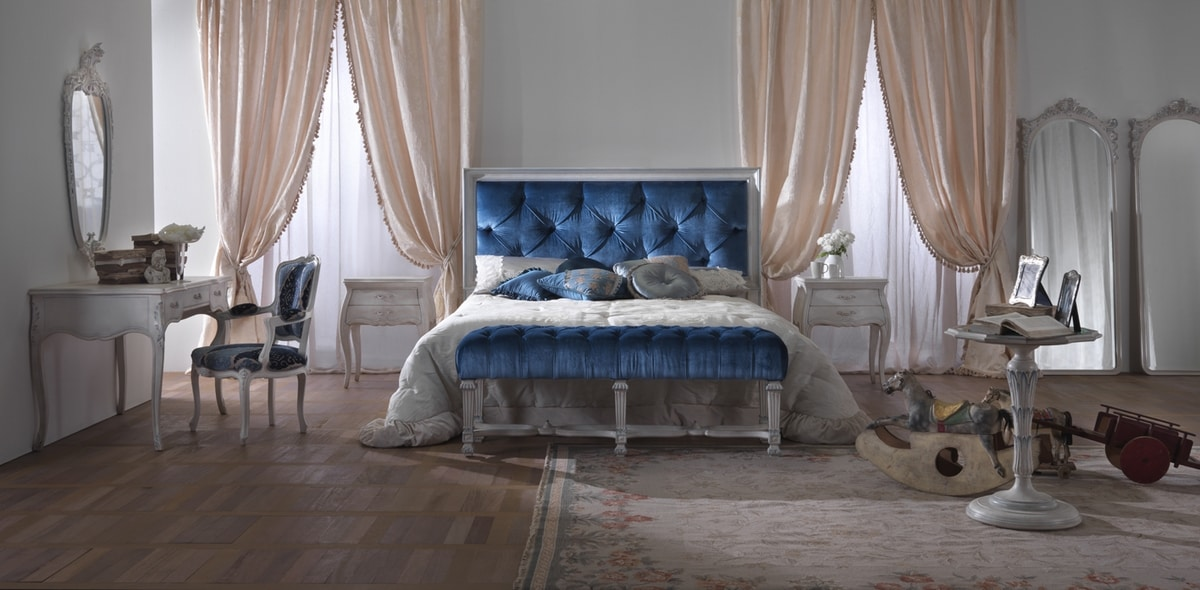 Easy bed, Classic bed with capitonnè headboard
