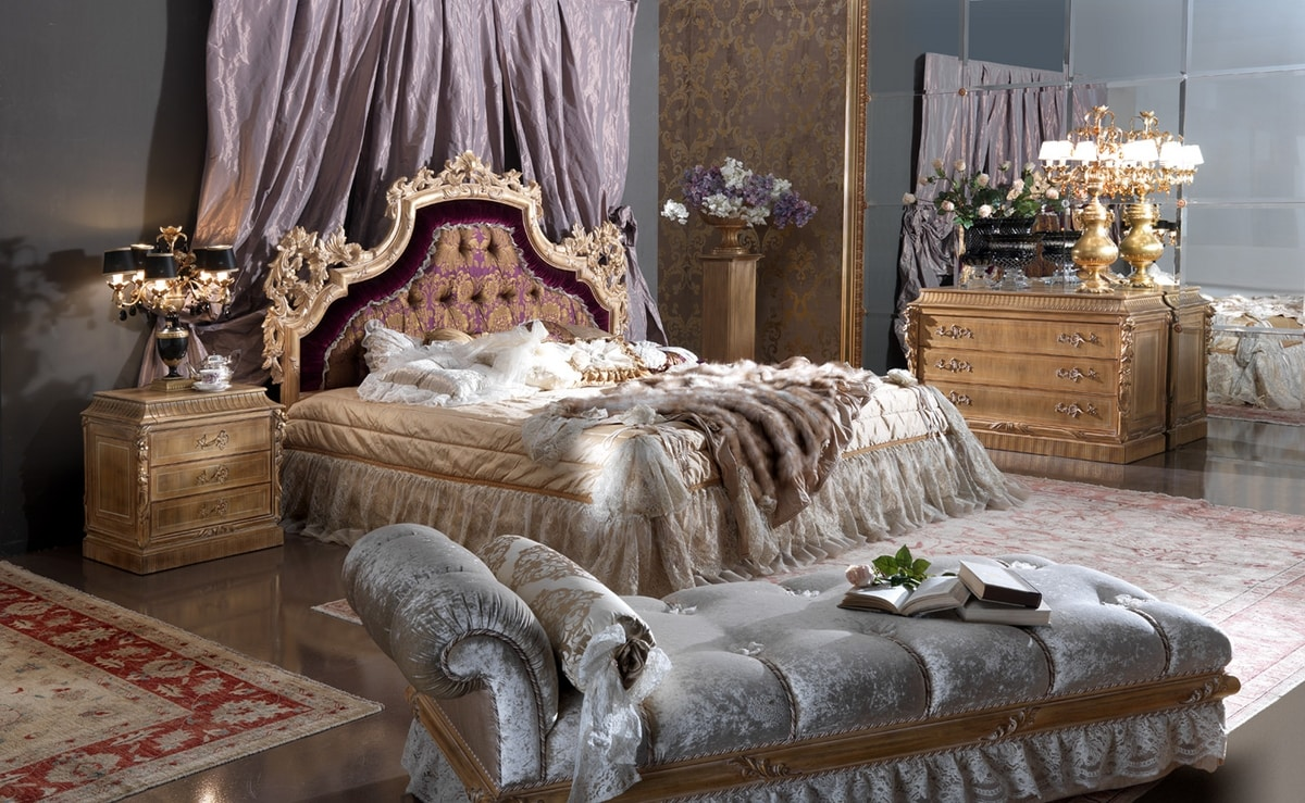 Esimia bed, Classic style bed, with silk and velvet headboard