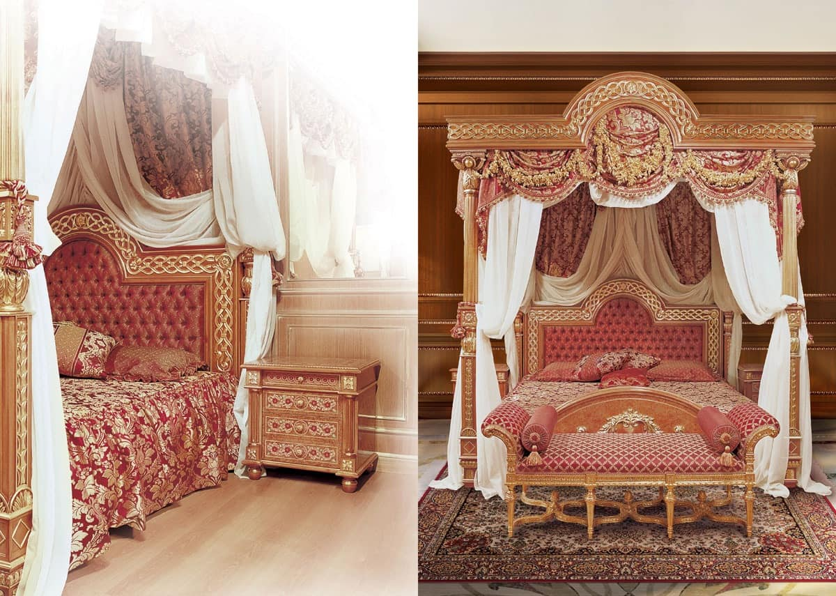 F517 Four-poster bed with Canopy, Luxurious bed with canopy, solid carved wood