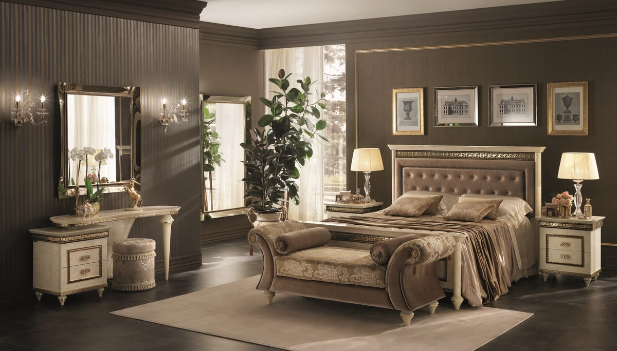Fantasia upholstered bed, Neoclassical style bed, with upholstered headboard