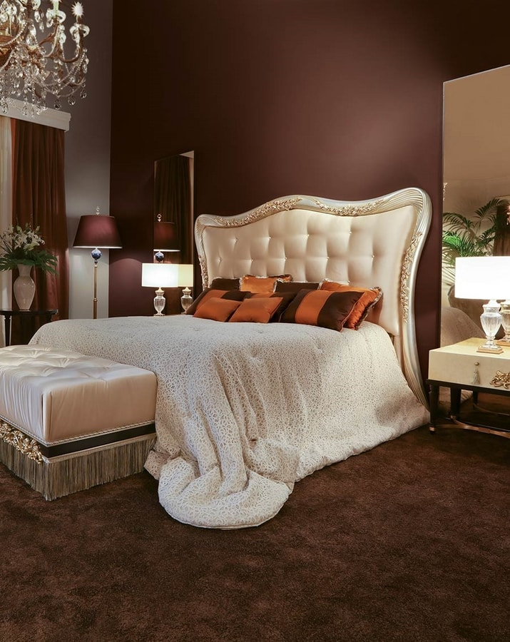 FLORA / bed, Bed with padded and carved headboard