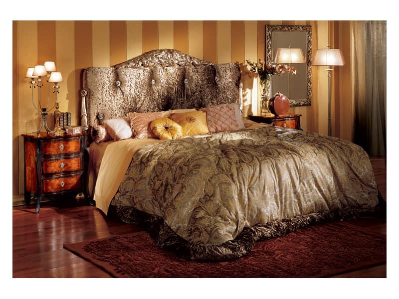 Florence bed, Classic style bed with padded headboard