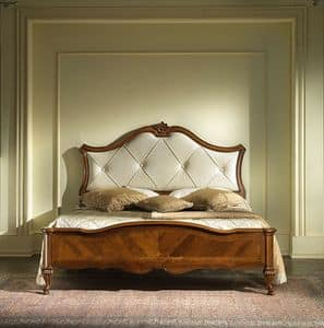 G 703, Bed in inlaid wood, with upholstered headboard