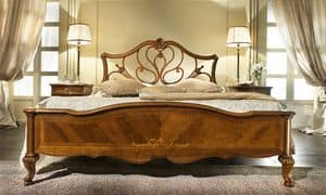 G 704, Walnut bed with headboard perforated, decorations maple