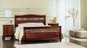 Gardenia perforated bed, Bed perforated and inlaid by hand, for classic bedrooms