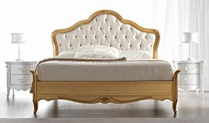 Gemma Art. 884, Classic bed, gold finish, with tufted headboard