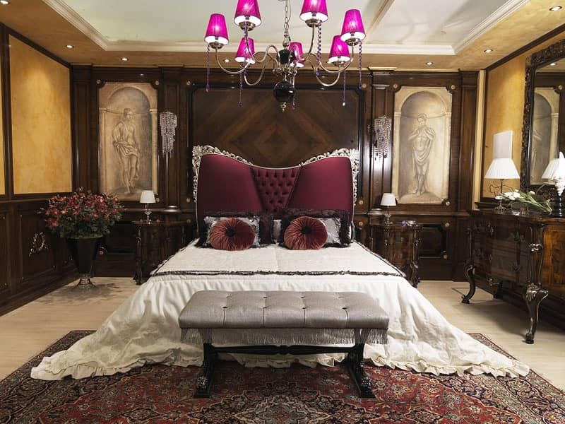 Gigli bed, Luxury bed with upholstered headboard, classic style