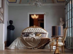 Giorgione bed, Hand finished bed, quilted, gold leaf decorations