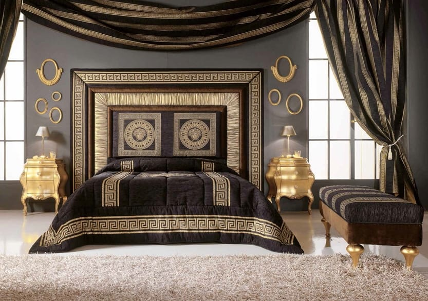 GRECALE bed, Bed with luxurious upholstered headboard
