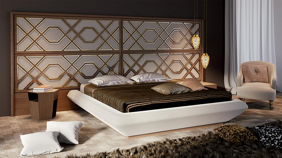 Intrigue bed with horizontal headboard