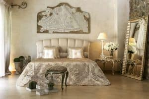 Kronos bed, Classic bed with inset lacquered ivory and silver
