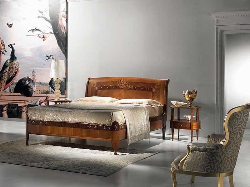 L334 Cornucopia bed, Wooden bed, classic luxury, mother of pearl inlays