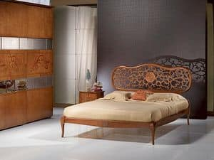 LE07 Novecento bed, Bed in solid wood, inlaid, classic style