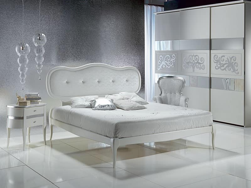 LE08 Novecento padded bed, Bed with upholstered headboard, elegant, for luxury hotel