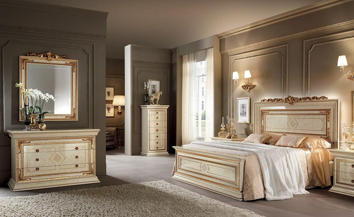Leonardo bedroom 1, Classics bedrooms furniture, ivory with gold color finishings