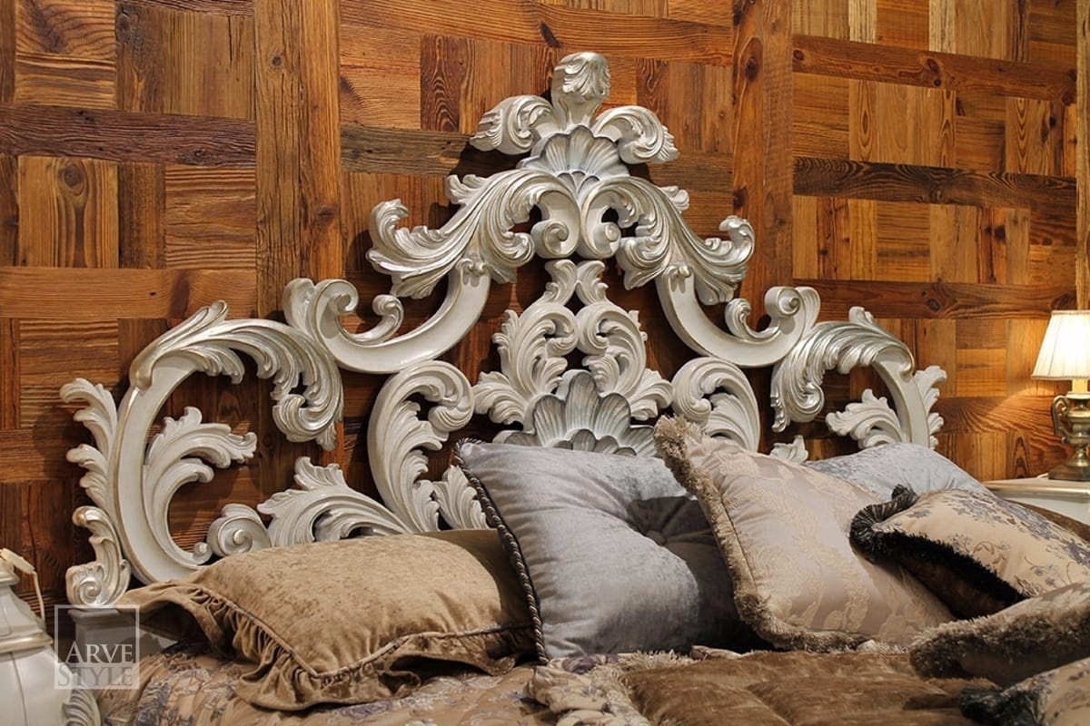 Letizia bed, Bed with a gorgeous carved headboard