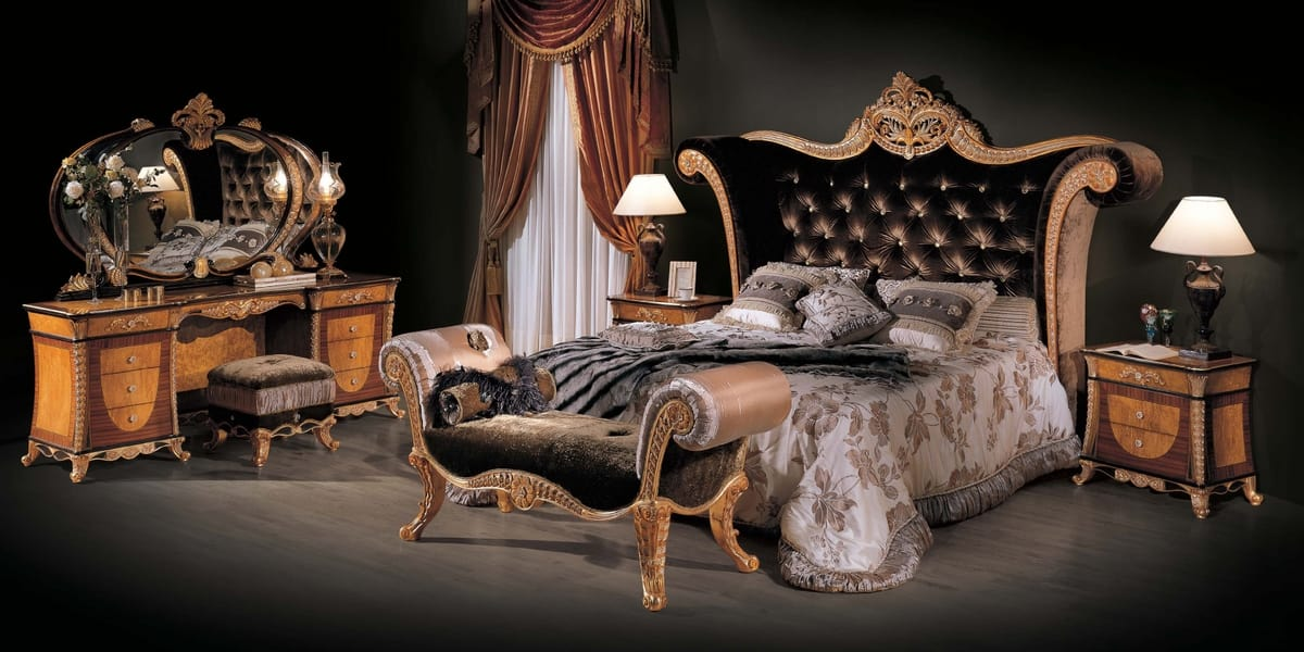 Bed 3131, Classic bed with velvet headboard