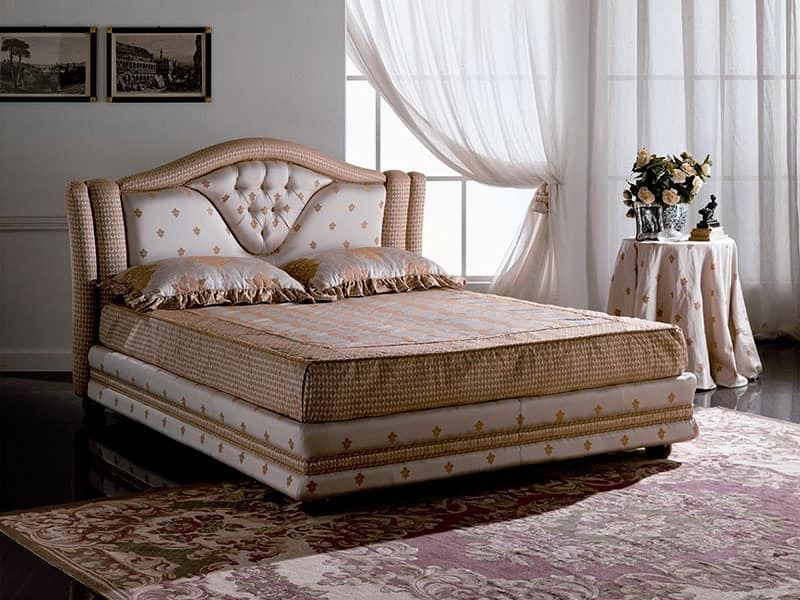 Mantegna, Quilted double bed, headboard with frame