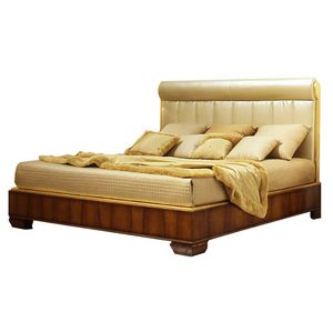 Muse CH.0602, King-size walnut bed with upholstered headboard
