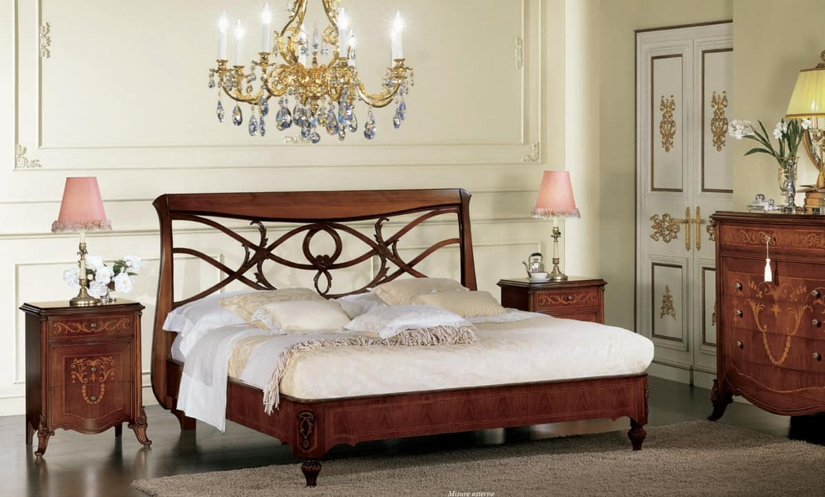 Narciso perforated bed, Walnut bed, with headboard perforated, handmade